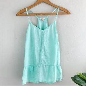J. Crew Womens 100% Linen Light Turquoise Top Sz 0